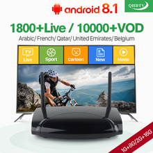 IPTV France Box Android 8.1 TV Receiver Belgium Arabic Netherlands Subscription 1 Year QHDTV