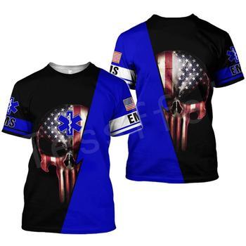 Tessffel Emergency Medical Service Technician EMT EMS Paramedic Hero New Fashion Unisex Casual 3DPrint Short Sleeve T-Shirts s-2 1