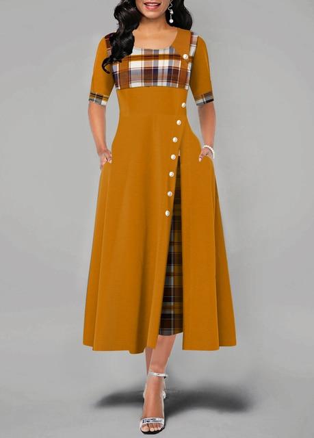 Elegant Long Dress Women spring Plaid Print Party Dress Irregular Vintage Dresses Ladies Button A-Line 2020 New fashion Dress 6