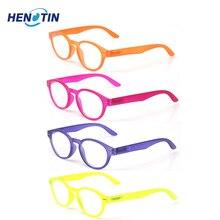 Óculos de leitura unissex 4 unidades, para homens e mulheres, armações ovais com dobradiça para primavera, leitores coloridos, óculos de qualidade 0.5a 6.0