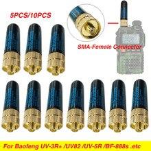 10 pçs SMA-F fêmea antena 10w alto ganho srh805s dupla banda uhf vhf para baofeng UV-5R BF-888S uv-82 UV-5RA uv5r UV-3R presunto rádio