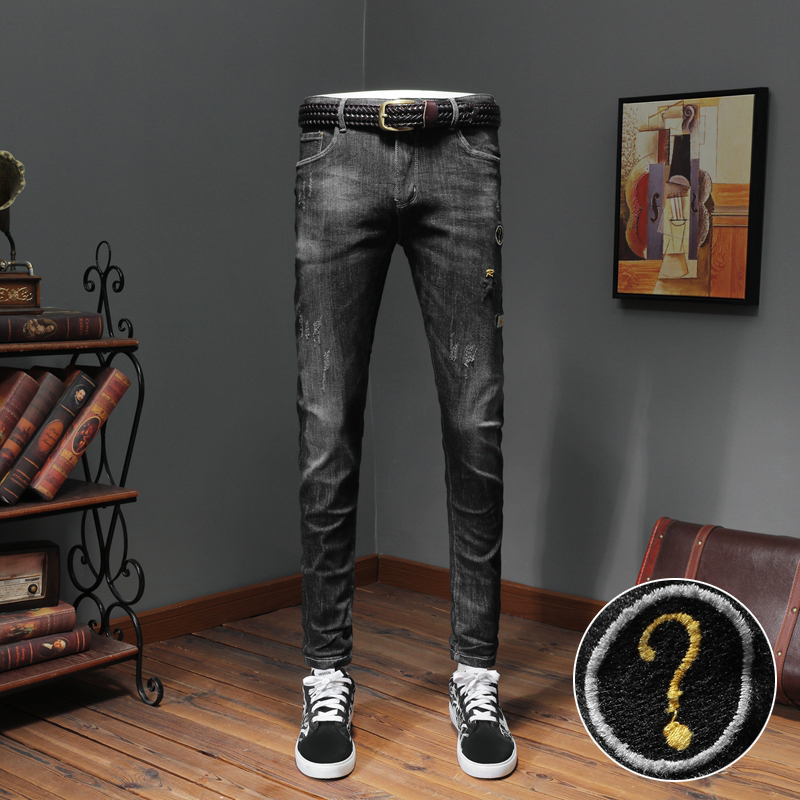 Autumn Winter New Quality Letter Embroidery Stretch Slim Fit Black Jeans
