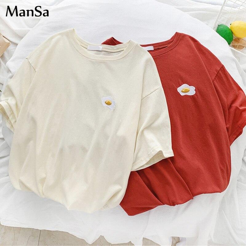 Summer Graphic Tees Women Embroidery 90's Girl Tshirt Kawaii Simple T Shirt Casual Short Sleeve T-shirts Harajuku Korean Clothes