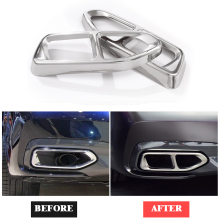 Yubao 2Pcs Stainless Steel Tail Car Exhaust Muffler Pipe Tip Cover Trim For BMW 7 Series G11 G12 730 740 750li 2016 2017 2018