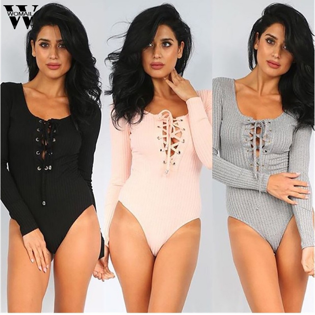 Womail bodysuit Fashion Women Sexy Autumn Solid long Sleeve Rompers Slim Simple   Jumpsuits   Ladies Streetwear playsuit 822