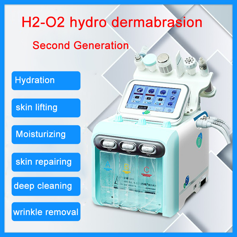 Second Generation Hydro Dermabrasion Water Oxygen Jet Skin Dermabrasion Cleaning Hydra Facial 6 In 1 Water Peeling Device