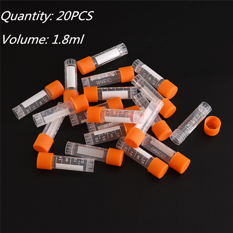 20pcs Centrifuge Tubes 1.8ml PP Lab Analysis Freezing Tubes Graduation Centrifuge Tube Volume Vials Bottles With Screw Cap