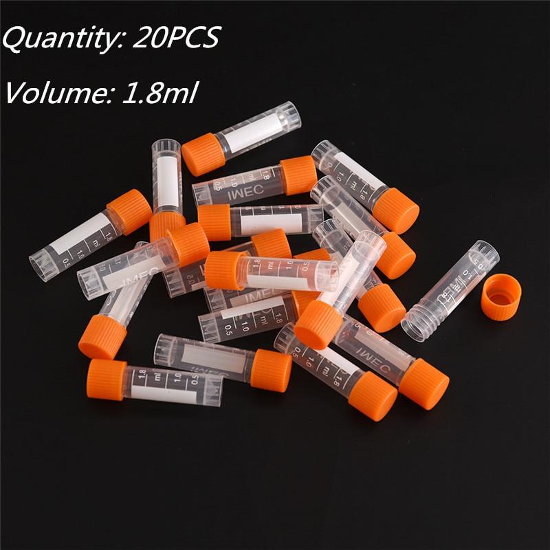 20pcs Centrifuge Tubes 1.8ml PP Lab Analysis Freezing Tubes Graduation Centrifuge Tube Volume Vials Bottles With Screw Cap