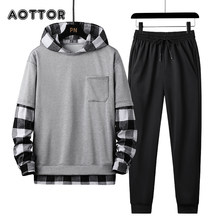 Primavera outono conjunto dos homens agasalho xadrez retalhos hoodies + calças 2 peças conjunto moda studen esportes terno streetwear 4xl