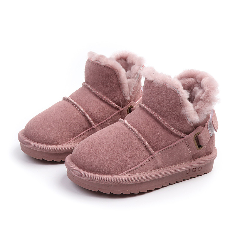 2019 Children's Snow Boots Girls Rabbit Fur Boots Baby Cotton Shoes Sequins Genuine Leather Boots  Girls Winter Warm Shoes