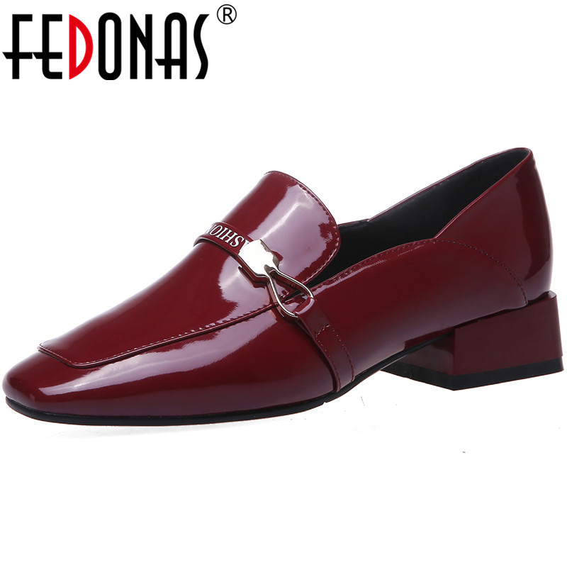 FEDONAS Patent Leather Metal Women Shoes Solid Color High Heels Pumps 2020 Concise Party Basic Retro New Spring Shoes Woman