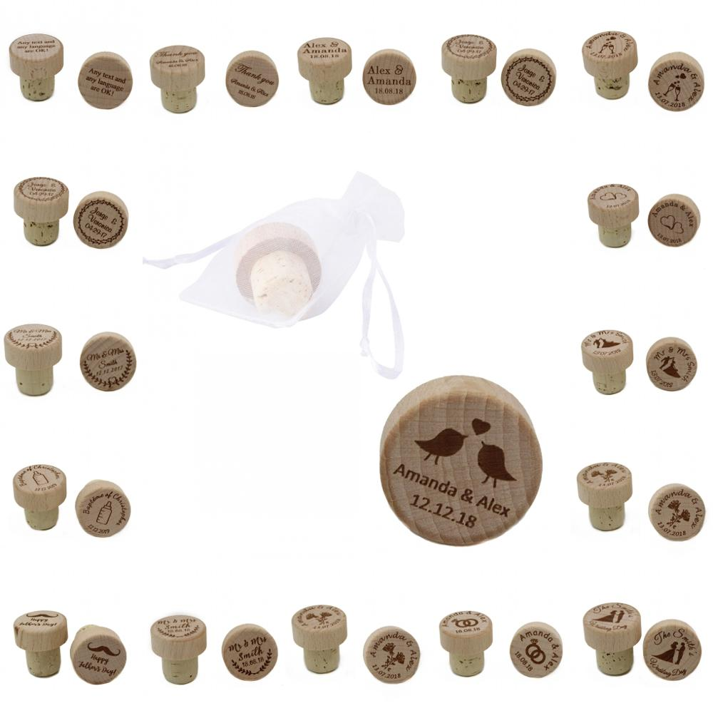 100pcs Personalized Engraved Wood Wine Stopper Laser Cork Bottle Toppers Gift T Stopper Wedding Party Company Logo Decor Favor