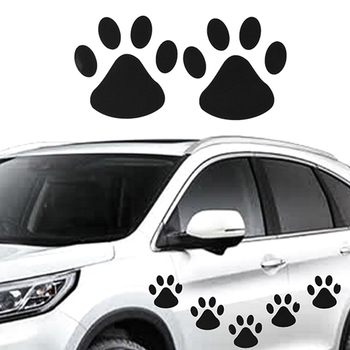4pcs/sheet Fashion Design Paw Car Sticker Animal Dog Cat Footprint Decal Car Stickers image