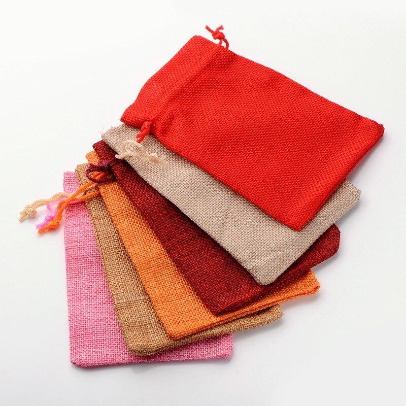 9,5*13,5 см льняной мешочек для ювелирных украшений на шнурке Рождественские Свадебные Подарочные сумки Сумка на шнурке Упаковка 30 шт