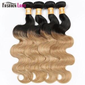 Image 3 - Mode dame pré colorée brésilienne cheveux raides cheveux humains armure 1B/27 Ombre cheveux humains paquets 1/3/4 paquet par paquet non remy