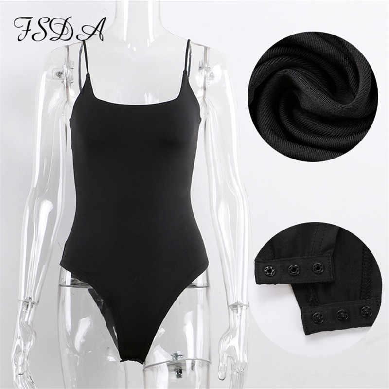 FSDA 2020 kolsuz yaz seksi Bodysuit siyah kadınlar Cami spagetti askı Backless kapalı omuz beyaz Casual bayanlar vücut üst