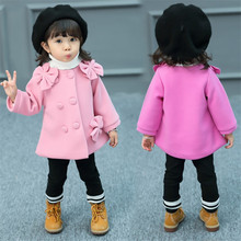 New Arrival Toddler Wool Coat for Girls Autumn&Winter Wool Baby Clothes With Bowknot Turn-down Collar Outwear For Kids 2-7 Years 2018 new style toddler baby girls winter down coat infants kids cotton jacket outwear kids clothes children clothing 10 12 years