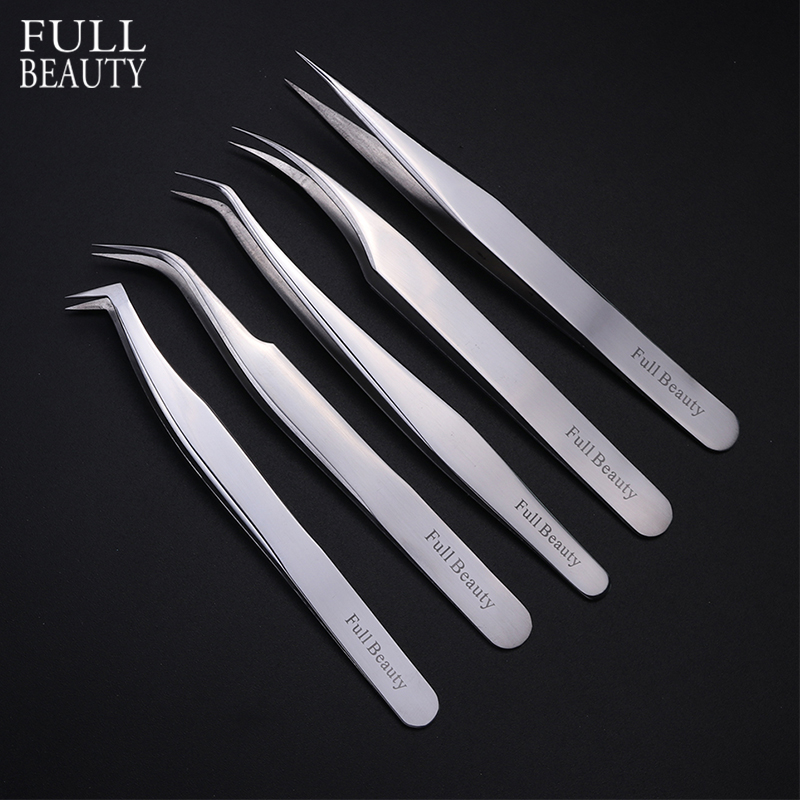 1pc Profession Stainless Eyebrow Tweezer Eyelash Flower Extension Beauty Makeup Tools High Precision Quality Tweezers CHU01-05