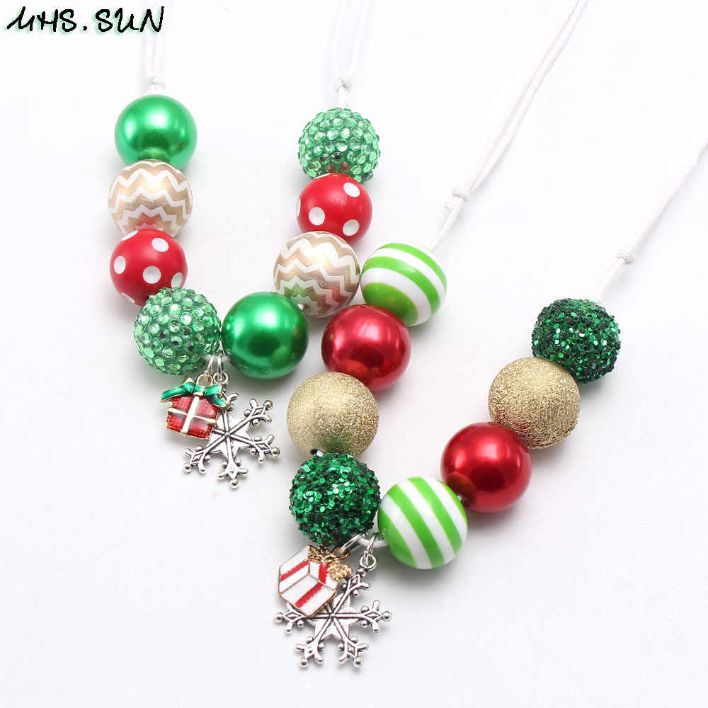 MHS.SUN Christmas Jewelry Set Girls Adjustable Rope Necklace Kids Child Beads Necklace Bracelet With Snowfake Gift Pendants New