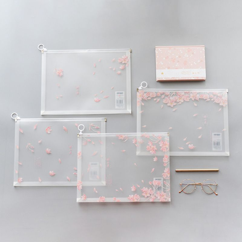 4pcs Cherry Blossoms A4 Transparent Document Bag Pouch File Storage Filing Organizer Waterproof Stationery Case Office Supplies