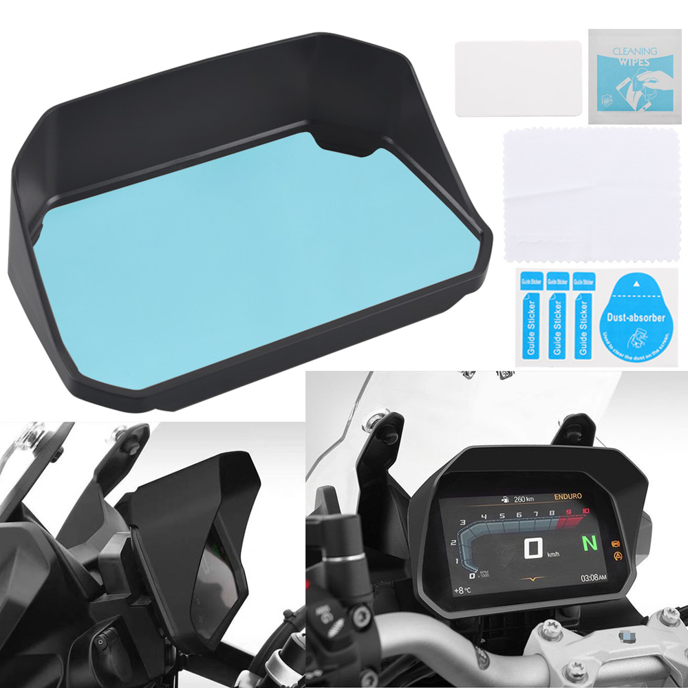 Black Instrument Sun Visor With Clear Protection Film For BMW R1200GS F850GS F750GS F 850GS 1250GS Adventure 2018 2019