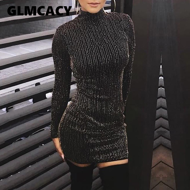 Women Elegant Long Sleeve Party Pencil Dress Autumn Modern Office Lady Dresses Glitter Club Bodycon Dress