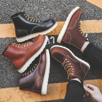 Yomior Luxury Brand Handmade Men Boots Vintage Casual Autumn Winter Cow Leather Shoes British Ankle Wings Motorcycle