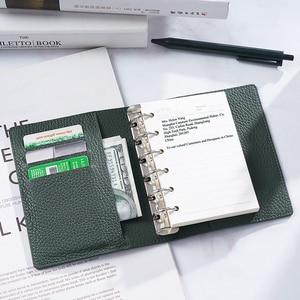 Image 5 - Anneaux en cuir véritable, taille A7, reliure en argent, Mini Agenda organisateur, cuir de vache, planificateur de Journal intime avec fentes pour cartes de crédit