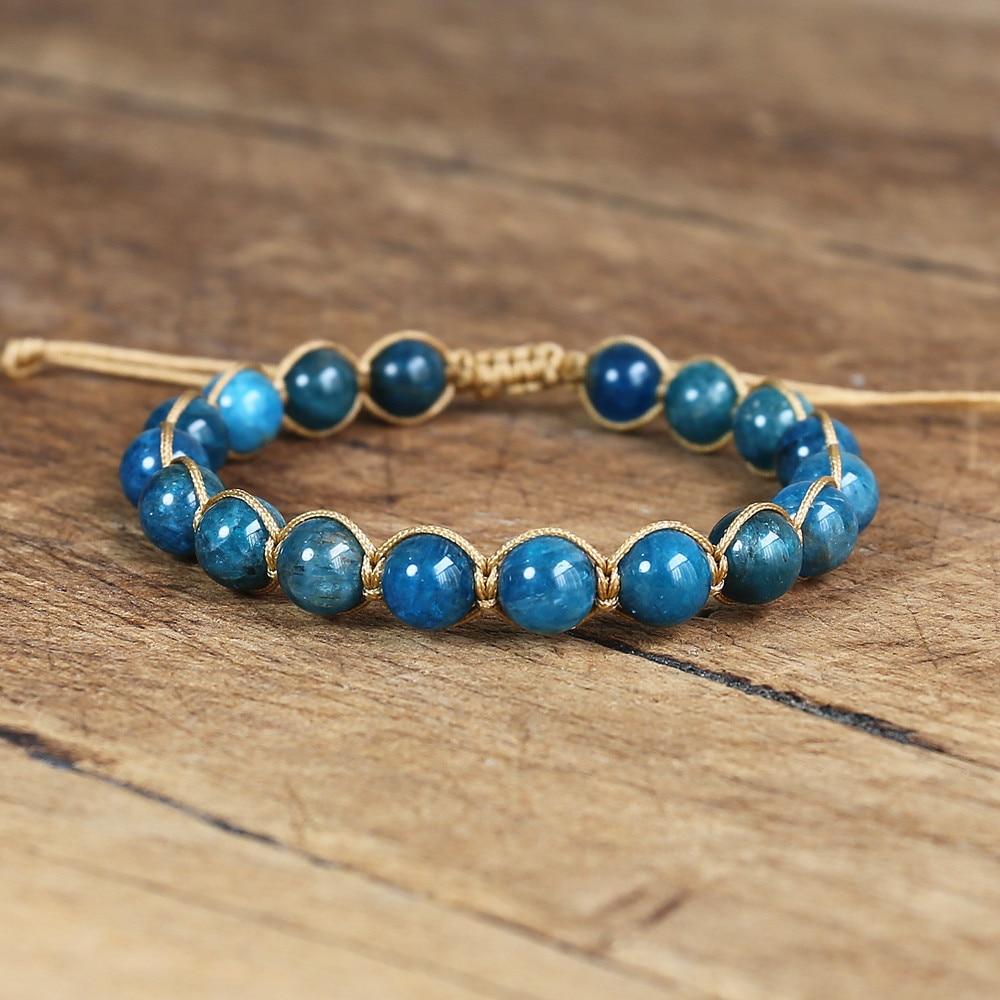 8MM Natural Stone Apatite Bracelet Handmade Jewelry String Braided Friendship Charm Bracelet Yoga Healing Energy Bracelet Femme