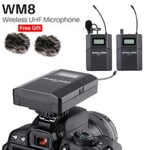 2019 Mailada WM8 Inalámbrico UHF DSLR Cámara sistema de micrófono en cámara Lavalier Lapel Mic receptor transmisor