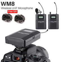 2019 Mailada WM8 ไร้สาย UHF กล้อง DSLR ไมโครโฟนระบบกล้อง Lavalier Lapel ไมโครโฟนตัวรับสัญญาณ