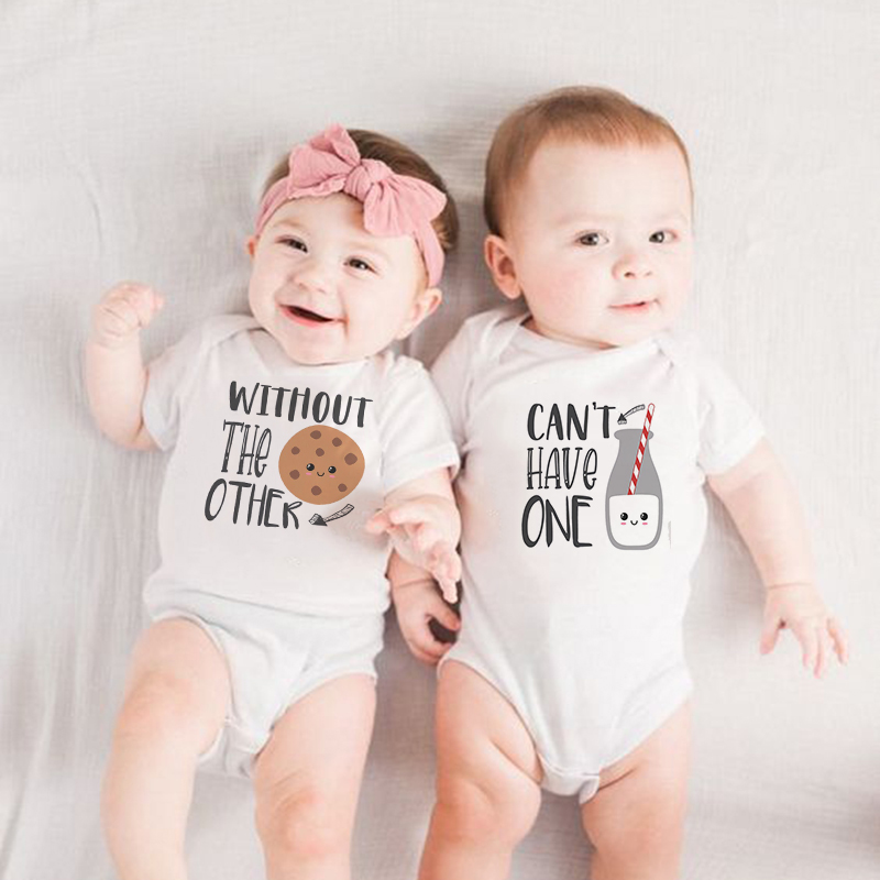 Funny Milk Cookie Twin Shirts Baby Twins Bodysuit Can't Have One Without The Other Twins One -piece Best Friend Twins Outfits