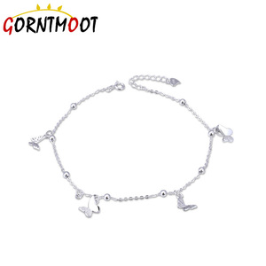 Image 3 - Butterfly Foot Chain foot leg bracelet silver 925 Cute Silver Anklet Jewelry S925 Anklet Bracelet Adjustable Length Birthday Gif