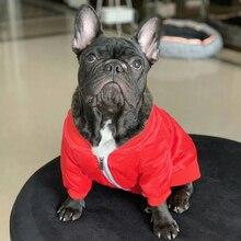 Chaqueta de perro para perros pequeños, chaqueta con monograma rojo para disfraz de Bulldog Francés, abrigo de Pug PC1042