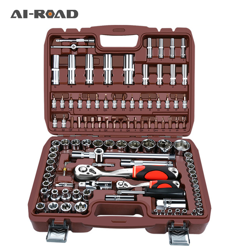 "53pcs1/4""set Car Motorcycle Repair Tool Ratchet Wrench Set Drive Socket Spanner Kit  Batch Head Screwdriver  Socket Set DIY Toos"