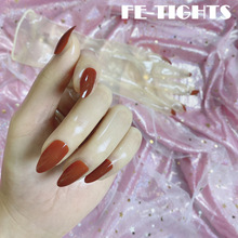 Oil Shiny Transparent Super Thin Latex Zentai Long Gloves With Red Nails Sheer Cosplay Kigurumi Gloves For Crossdresser