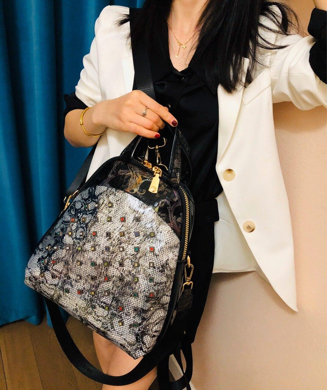 duplo rebite diamante bolsa de viagem mochilas para mulheres para hombre