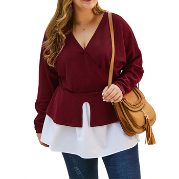 4XL Sexy V-neck Plus Size Blouse Winter Long Sleeve Knitted Shirts Blouses Casual Patchwork Hem Ladies Tops blusa feminina D30 v placket curved dip hem blouse