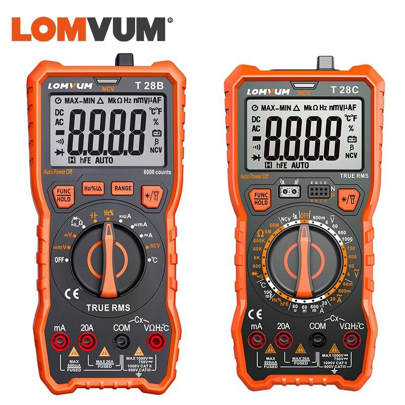 LOMVUM Display Auto-Ranging Multímetro Digital 6000 Counts Multímetro Tester 2 Sondas de Tensão Corrente De Medição De Capacitância