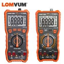 LOMVUM cyfrowy multimetr auto zakres 6000 zlicza wyświetlacz miernik testujący 2 sondy napięcie prądu pomiar pojemności