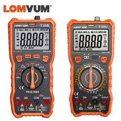 LOMVUM dijital multimetre otomatik aralığı 6000 sayım ekran multimetre test cihazı 2 prob gerilim akım kapasite ölçüm