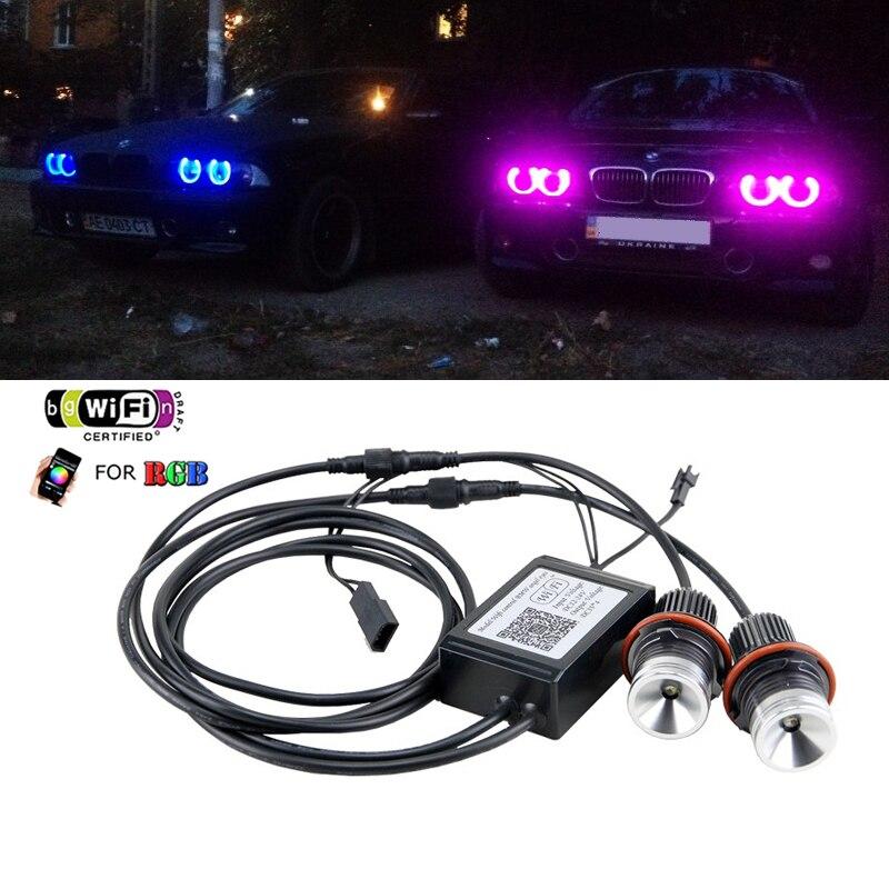 WI-FI RGB светодиодный Ангельские глазки 12 В 24W Canbus Светодиодный Маркер Halo Кольцо лампы для BMW E60 E61 E63 E64 87 X3 E39 E53 E65 E66 ошибок