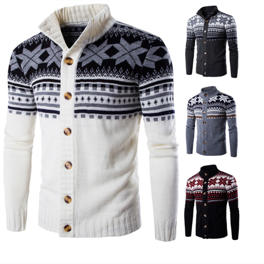 Winter Men's Sweaters Christmas Costume Long Sleeve Knitted Crocheted Snow Floral Striped Cardigan For Male Man Casual Outwears