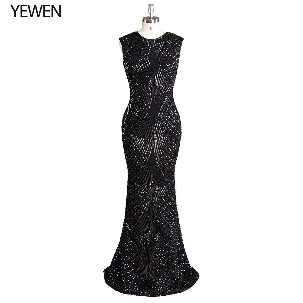 Черное торжественное платье с круглым вырезом 2019 вечернее платье свадебное платье-русалка без рукавов вечерние платья в пол YeWen