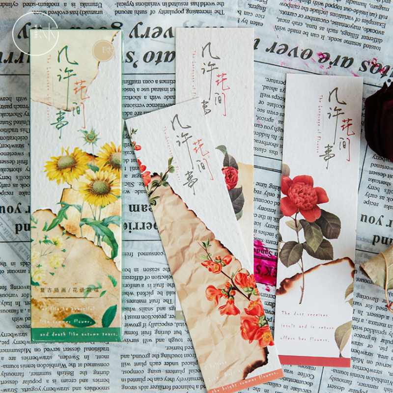 30PCS/lot Flowers And Retro Plant Series Bookmark Set With Kraft Package / Paper Bookmarks/ Book Holder / Message Card