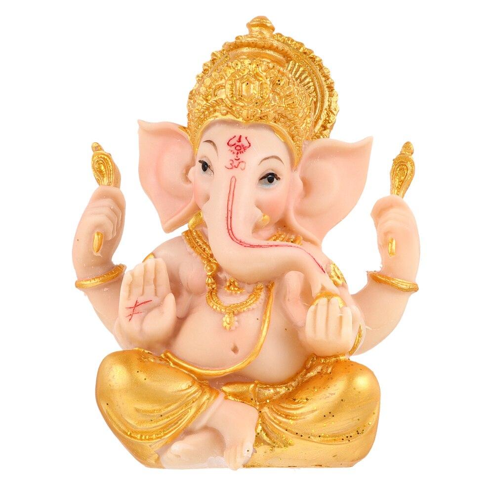 Resin India Elephant God Statue Desktop Wealth Sculpture Decoration