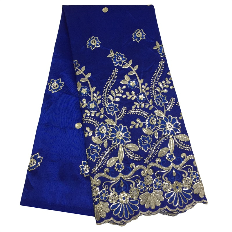 Latest Nigerian Sequins Wax George Lace Fabric Flower Embroidered African Lace Fabric For DIY Clothing