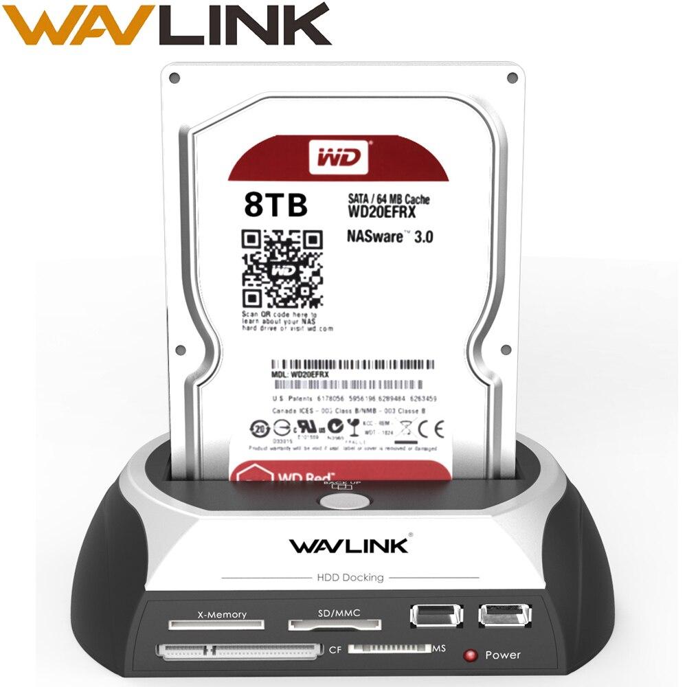 Wavlink All In One SATA HDD Docking Station 2.5/3.5 Inch SSD External Hard Disk Drive Enclosure Base Box USB Hub Card Reader HOT