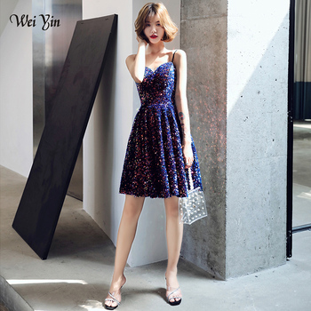 wei yin AE0233 New Sequined Sexy Cocktail Dresses V Neck Mini Backless Party Dress Black Cheap Women Gown