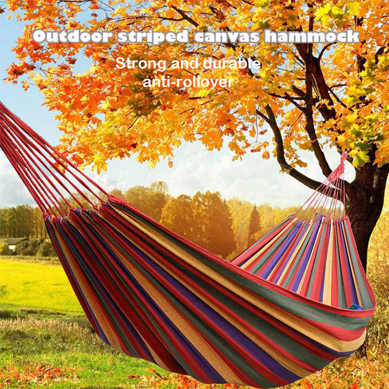 Outdoor Colorful Canvas Hammock Swing Dormitory Single Hammock With Curved Stick To Prevent Rollover Camping Double Hammock